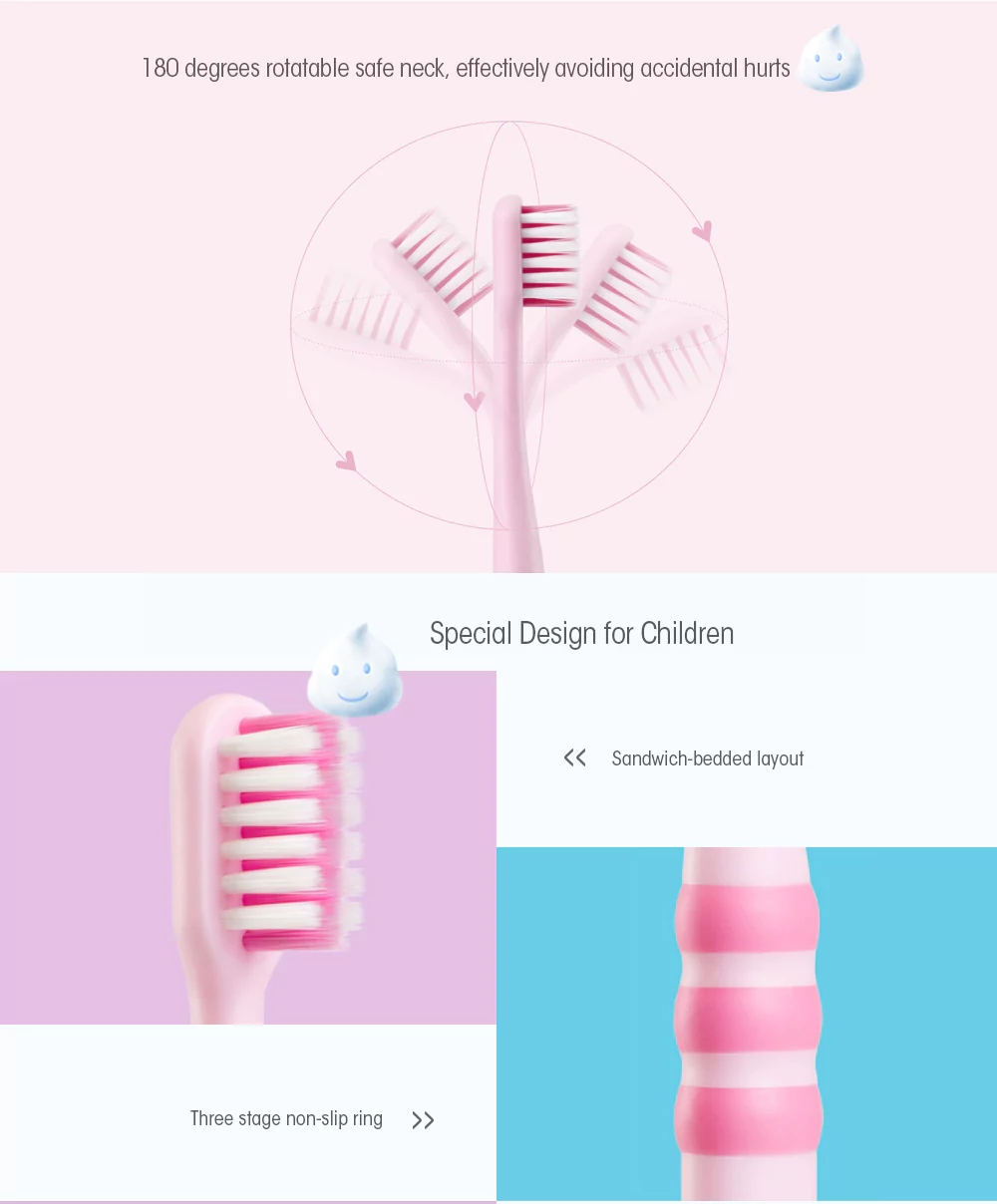 2PCS Xiaomi Doctor Bei Kids Toothbrush Food-grade Material Imported Fur Flexible Safety Handle -Pink