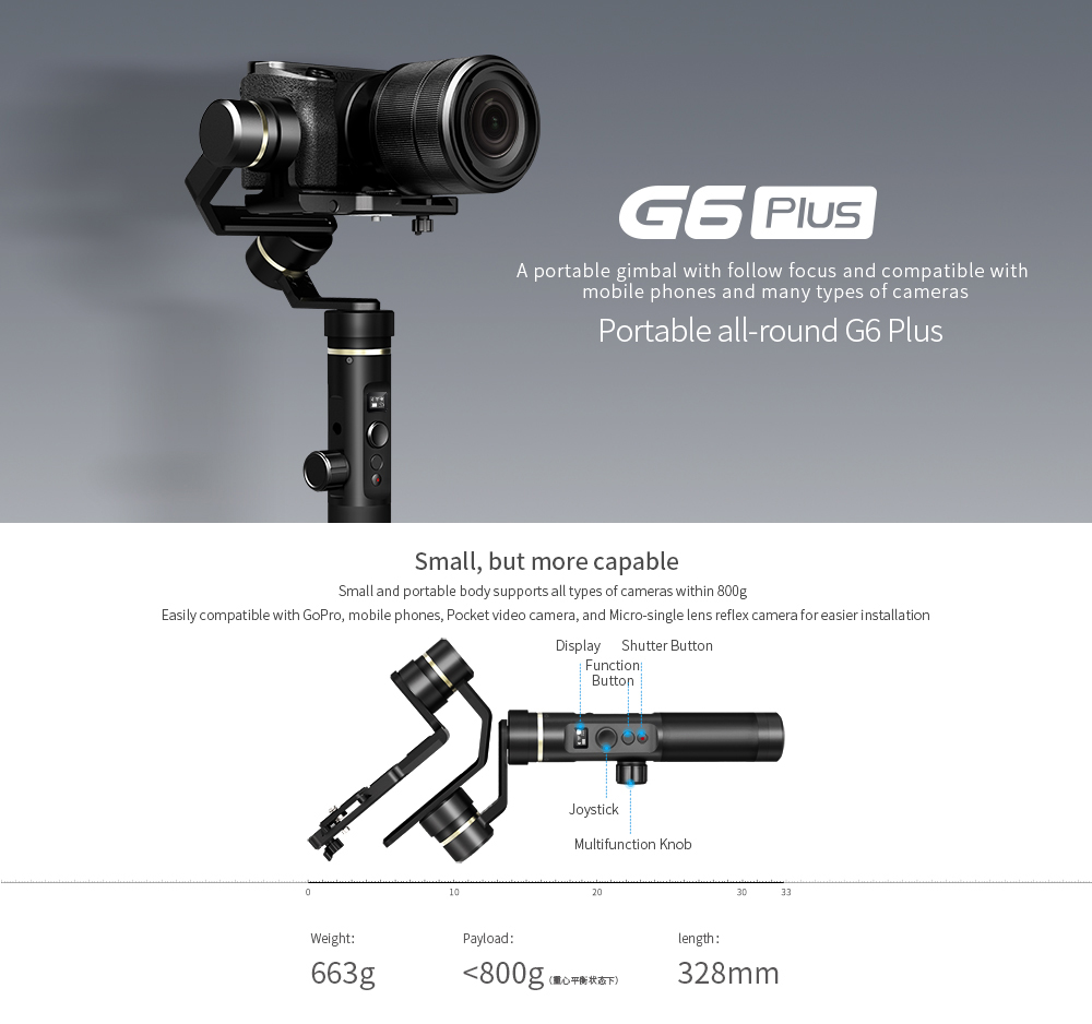 Feiyu Tech G6 Plus WiFi Bluetooth Dual Module 3-Axis Brushless Handheld Gimbal Stabilizer for Action Camera Smartphone