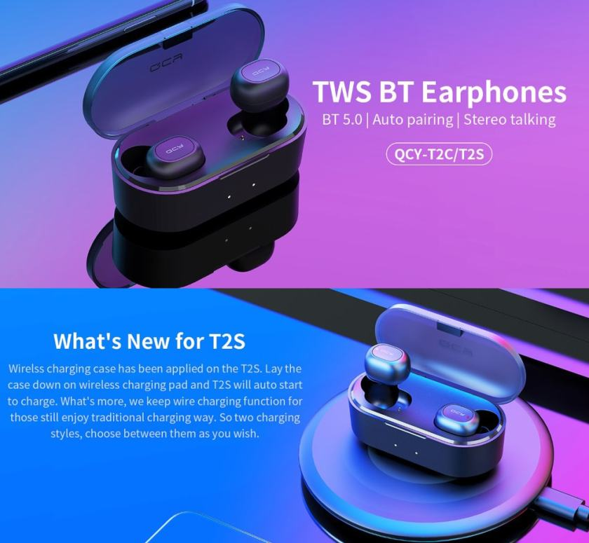 QCY T2S Bluetooth 5.0 TWS Earphones Wireless Charging Siri Google Assistant 800mAh Charging Case CVC 6.0 Noise Reduction