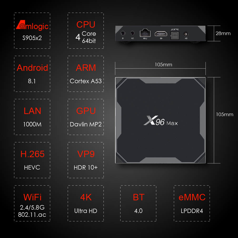X96 MAX Amlogic S905X2 Android 8.1 4GB/32GB TV Box