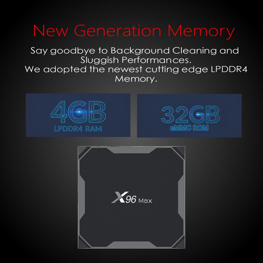 X96 MAX Amlogic S905X2 Android 8.1 KODI 18.0 4GB/32GB 4K TV Box with LED Display Dual Band WiFi Bluetooth Gigabit LAN USB3.0