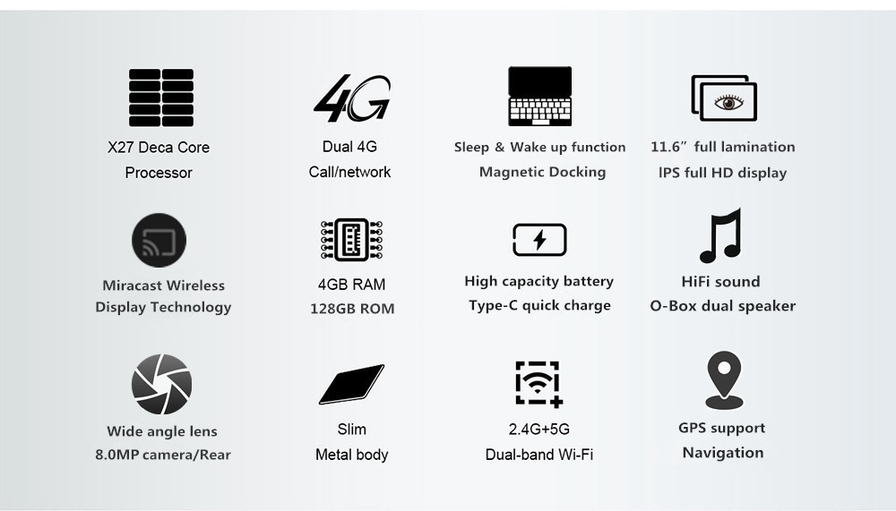 """Binai T10FHD 4G Phablet MT6797X Helio X27 Deca Core 11.6"""" 1920*1080 Android 8.0 4GB RAM 128GB ROM -  Black"""