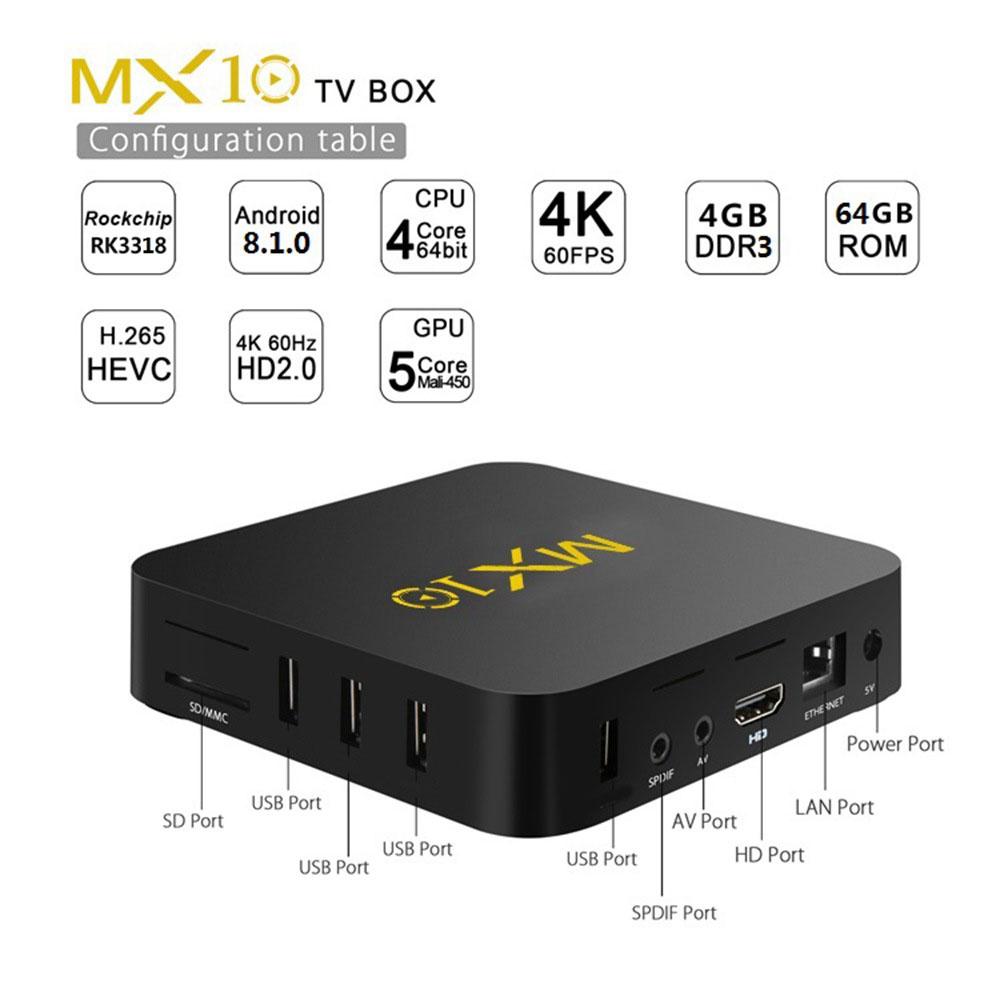 MX10 RK3318 Android 9.0 KODI 18 4K HDR TV BOX 4GB/32GB WIFI LAN VP9 HDMI SPDIF USB3.0 Youtube Netflix - Balck
