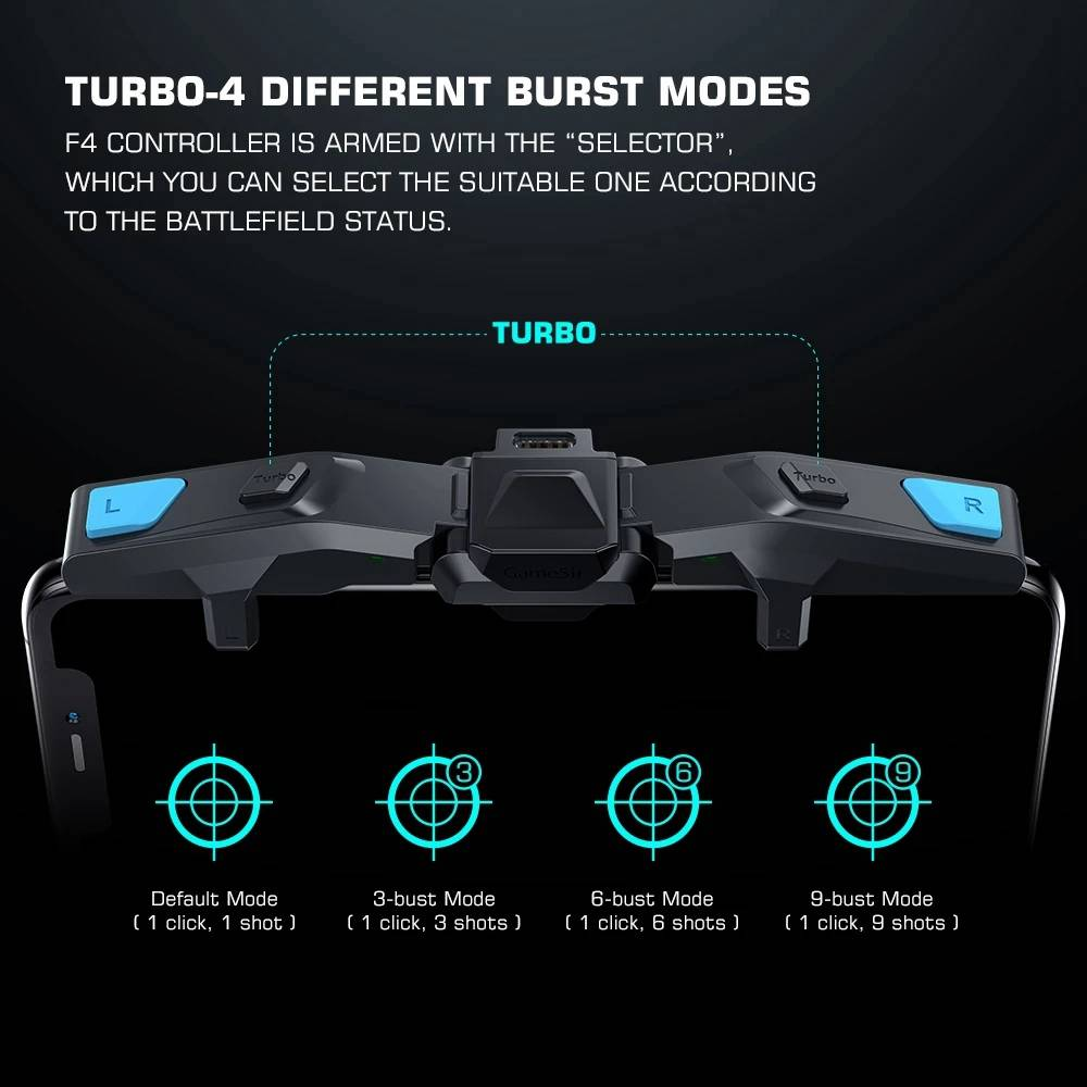 GameSir F4 Falcon Mobile Gaming Controller Plug-and-play Type-C Charge 4 Bust Modes for Android/IOS - Black