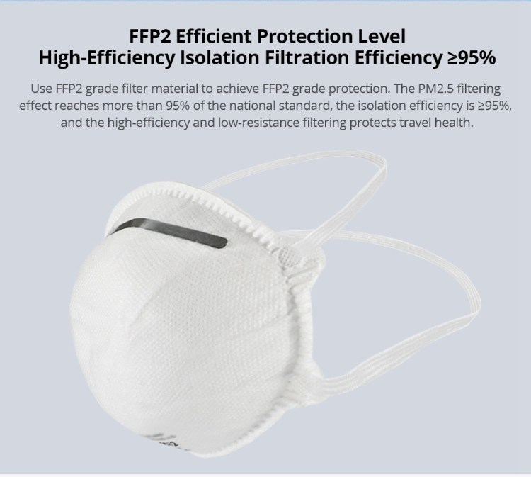 40PCS EU Standard FFP2 NR Disposable Respirator Mask With CE Certified Filter Efficiency 98% Above Easy Breath Comfortable Wear for Flu Protection PM 2.5 Anti-Virus Pollution Allergy Haze- White