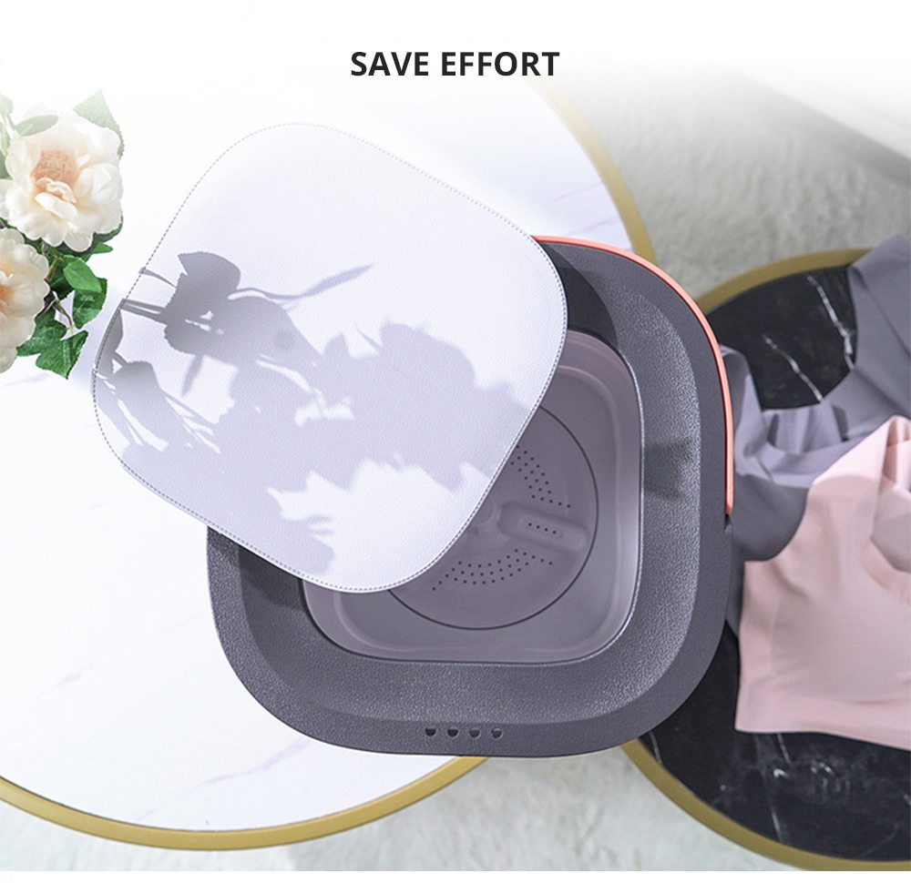 Moyu Second Generation Portable Mini Folding Automatic Washing Machine Spin Dry Energy Saving For Home Travel - Gray