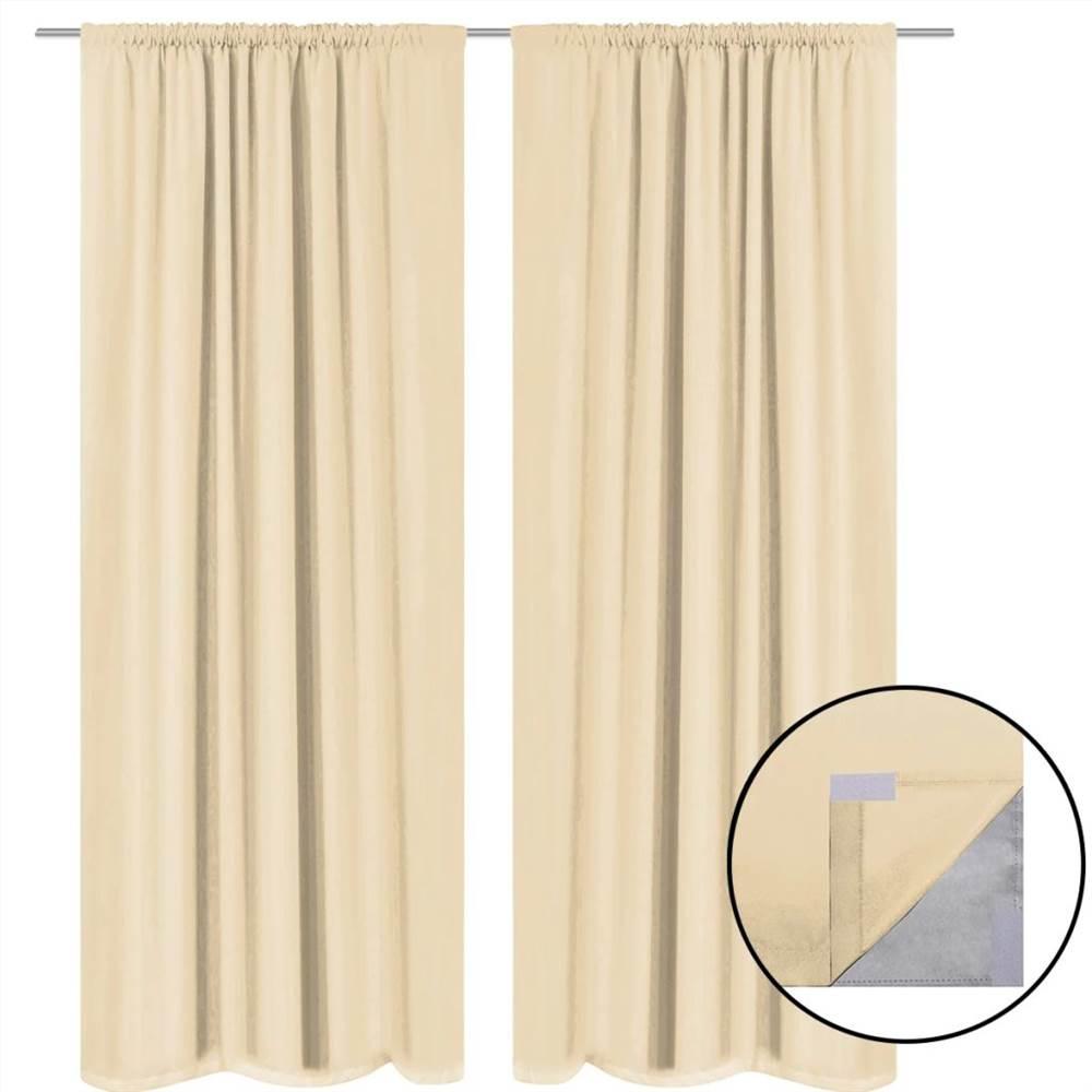 blackout curtains 2 pcs double layer 140x245 cm beige