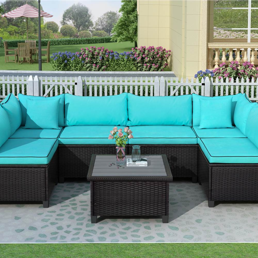 u style 6 seat rattan wicker sofa set with coffee table cushions and 2 accent pillows for outdoor courtyard terrace poolside blue
