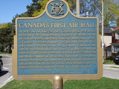 Canada's first air mail plaque