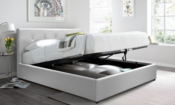 lit coffre en simili cuir avec matelas antibacterien en option de la marque sampur