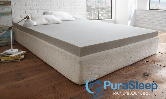 Purasleep Carbon Comfort Gel Memory Foam Mattress Topper