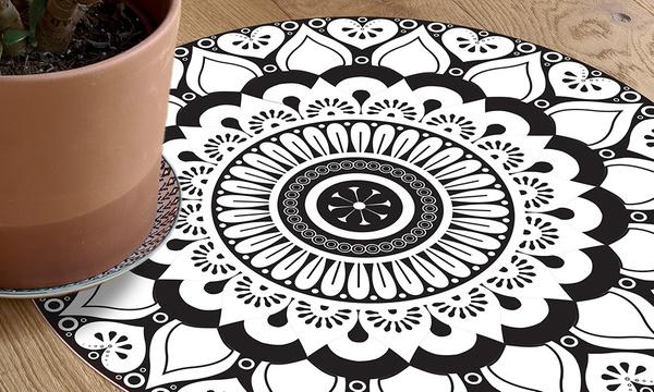 tapis rond en vinyle design mandala modele tijuana