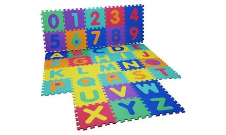 Tappeto puzzle ABC per bambini con cifre e lettere multicolore