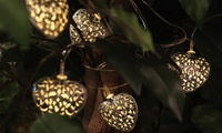 Solar Heart LED String Lights  10 decorative string lights  Solar-powered  Off, steady, and flashing lighting mode  Turn on automatically at night and off during the day  Require 4-6 hours of solar charging  Working time: up to 10 hours  For outdoor and indoor use  Weather-resistant  Bulb type: LED  Metal string  Product length: 20  90-day warranty from TOUCH OF ECOIn the box: lights, instructions, 2 rechargeable batteries (pre-installed), solar panel, mounting clip and ground stake for solar panel, 2 wood screws, 2 double-sided adhesive tape stripsFor post-purchase inquiries, please contact customer support.  Sold by Groupon Goods. View the products FAQ to learn more. Due to the Canada Post strike, some orders shipping to Canada may be delayed.