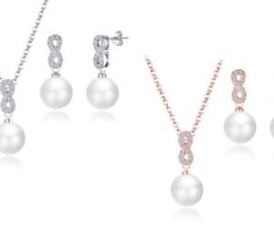 1x oder 2x Philip Jones Halskette und Ohrstecker in Silber oder Roségoldverziert mit Kristallen von Swarovski®