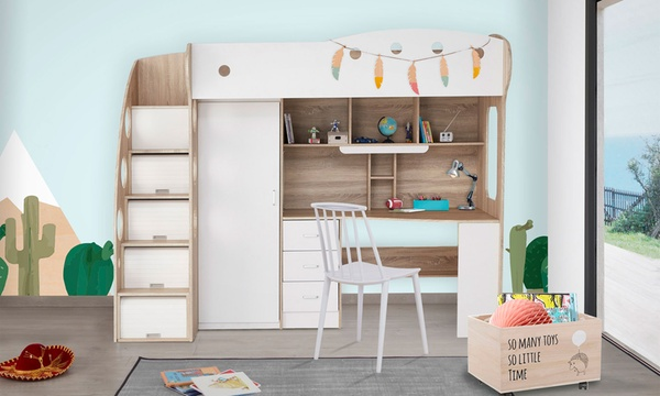 lit mezzanine combine kiddy pour enfant avec penderie et bureau integres matelas en option livraison gratuite