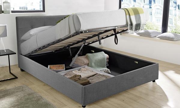 lit coffre a ouverture motorisee avec telecommande et matelas en option