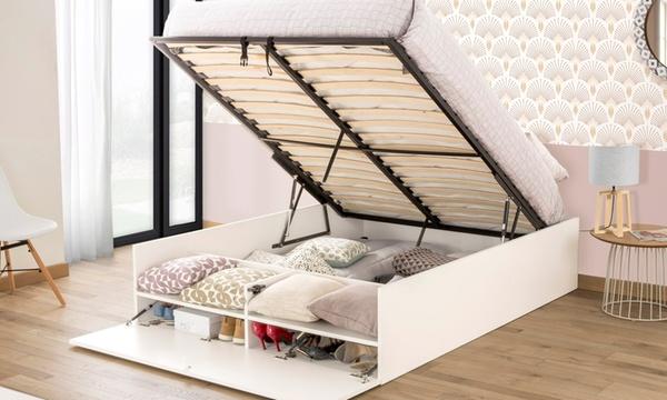 lit coffre avec multi rangements avec ou sans matelas livraison offerte