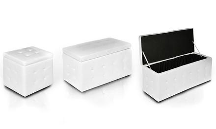 Pouf o cassepanche con contenitore disponibili in 3 misure e vari colori