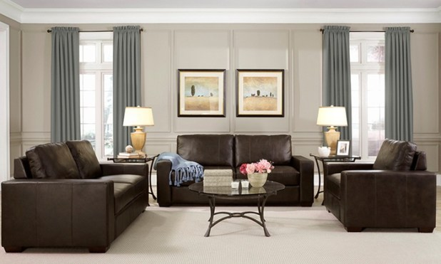 Hampton leather sofa Groupon uk living room furniture