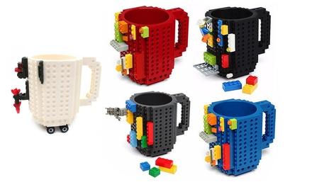 1 o 2 tazze con mattoncini da costruire e personalizzare disponibile in vari colori