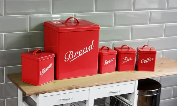 ensemble de 5 boites de rangements pour la cuisine en metal chef vida