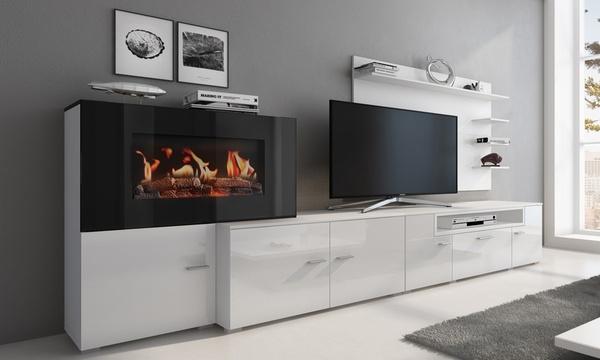 meuble de salon avec cheminee electrique a 5 niveaux de flamme
