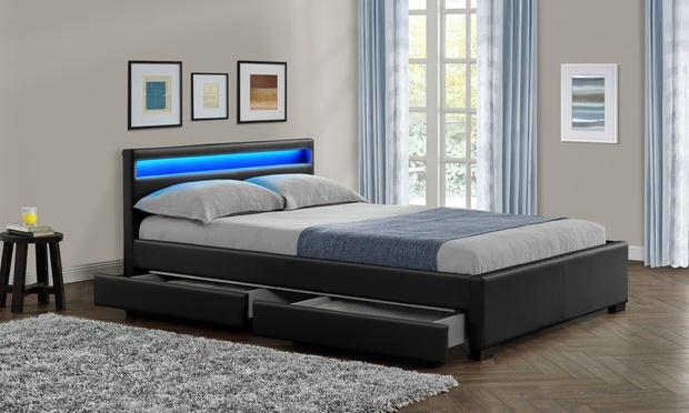 Leatherlook Design Bedden Met LED Groupon Goods