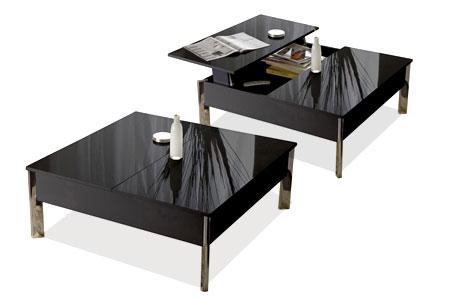 design et fonctionnelle la table basse carree new york a demi plateau relevable avec coffre de rangement est disponible en coloris noir ou blanc brillant