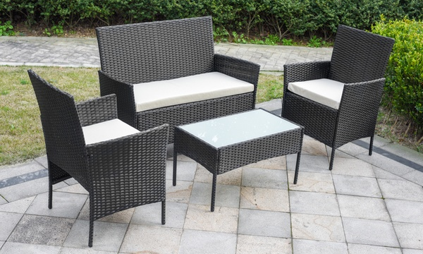 davis and grant four piece pe rattan garden furniture set with optional cover