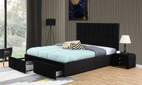 lit coffre equipe de tiroirs avec matelas et allonges de tetes de lit livraison offerte