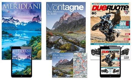 Abbonamenti alle riviste Dueruote, Meridiani e Meridiani Montagne con spedizione gratuita (sconto fino a 41%)