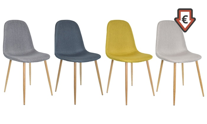 Lot Chaises Scandinaves En Tissu Groupon Shopping