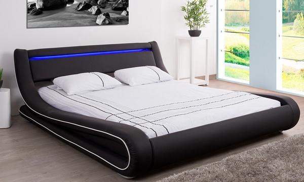 lit coffre avec sommier en simili avec led integree vendu avec ou sans matelas des 299 90 jusqu a 67 de reduction