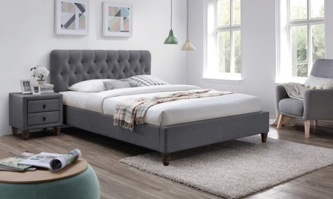 Groupon Goods Global Gmbh Melbourne Chesterfield Grey Fabric Bed Frame In Choice Of Size With