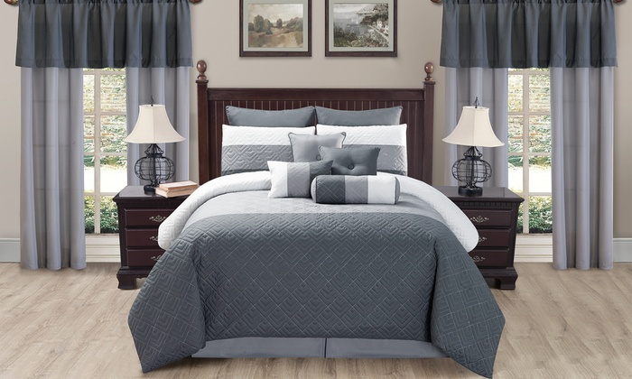 quilted room in a bag comforter set with curtains 20 piece