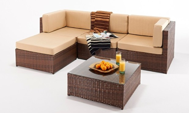 rattan effect corner sofa groupon