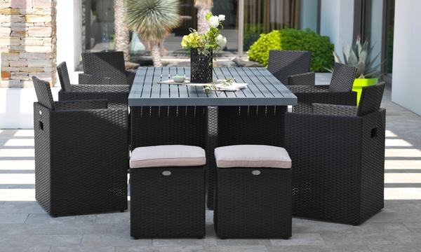 salon de jardin encastrable 10 places resine tressee plateau aluminium housse de protection en option livraison offerte