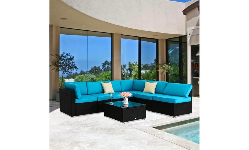 kinsunny 7pcs pe rattan wicker sofa sets outdoor furniture patio sectional sofa