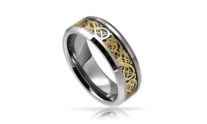 7mm Tungsten Ring Celtic Dragon Gold Inlay Comfort Fit