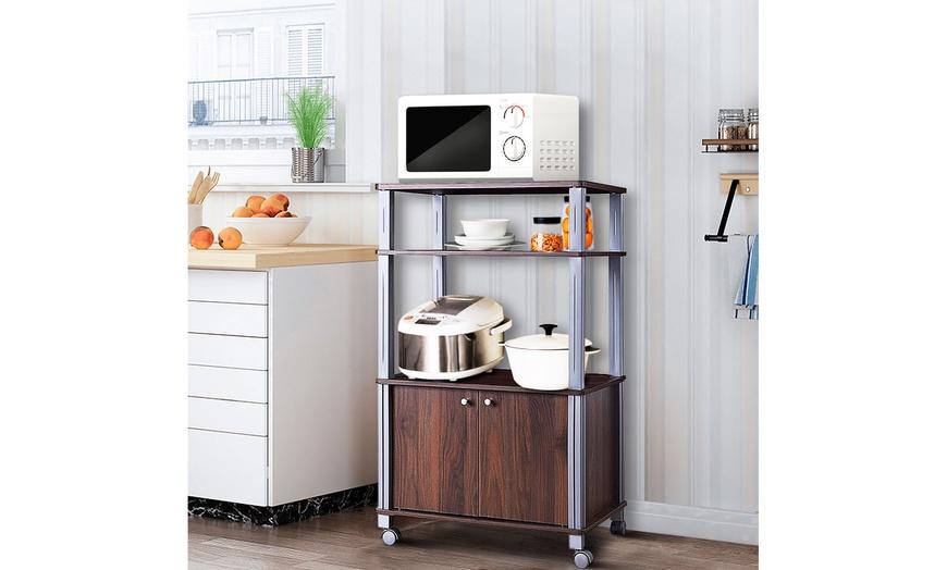 bakers rack microwave stand rolling storage cart multi functional display walnut