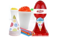 Courant Blizzy Snow Cone Maker    Makes a snow cone in seconds    For Parties  Warm Weather Fun    Counter Top Model    Stainless Steel Shaving Blades    Large Push Button    Works with Standard-sized Ice Cubes    Removable Cone Holder    Bonus includes 20 6oz. paper cones and strawsCourant Blizzy Snow Cone Maker Red      Cookware Material: Non Stick      Dimensions: 11.0 inches (H) x 7.0 inches (W) x 8.0 inches (L)      Weight: 1.8 pounds      Included in the box: snow maker       Made in China For post-purchase inquiries, please contact customer support.Sold by Groupon Goods. View the FAQ to learn more.