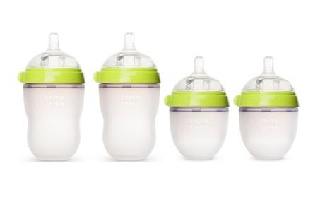 Comotomo 5 oz and 8 oz Baby Bottles - 4 Pack (Green)