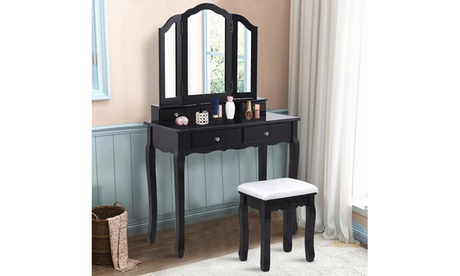Costway Makeup Table Stool Set with Tri Folding Mirror Vanity