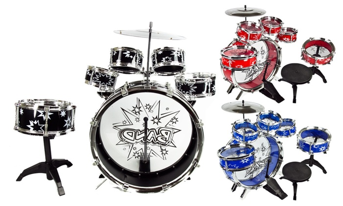 11 PC Kids Toddler Toy Drum Set with Stool   Groupon 11 PC Kids Toddler Toy Drum Set with Stool