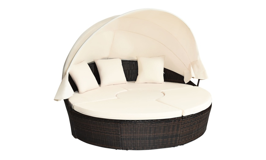 costway daybed patio sofa furniture round retractable canopy wicker