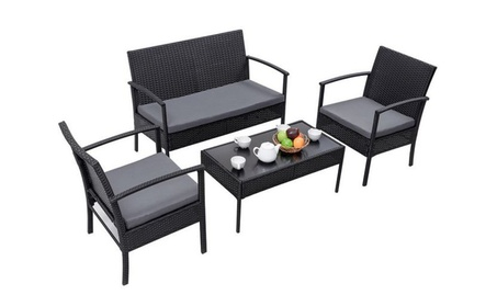 4 PCS Outdoor Patio Rattan Wicker Furniture Set Table Sofa Cushioned