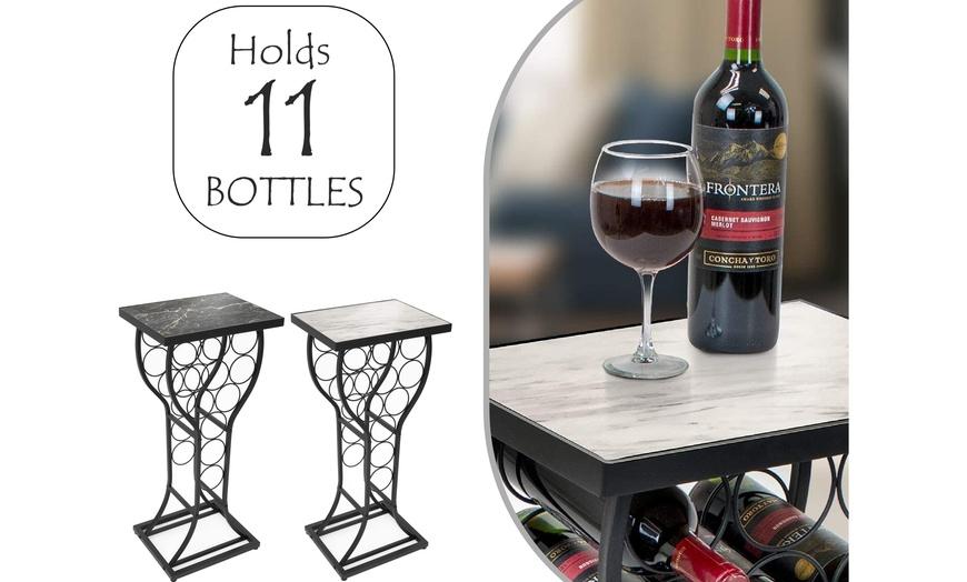 11 bottle wine rack holder w marble top table floor freestanding wine display