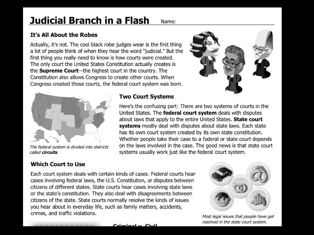 Worksheet Judicial Branch In A Flash