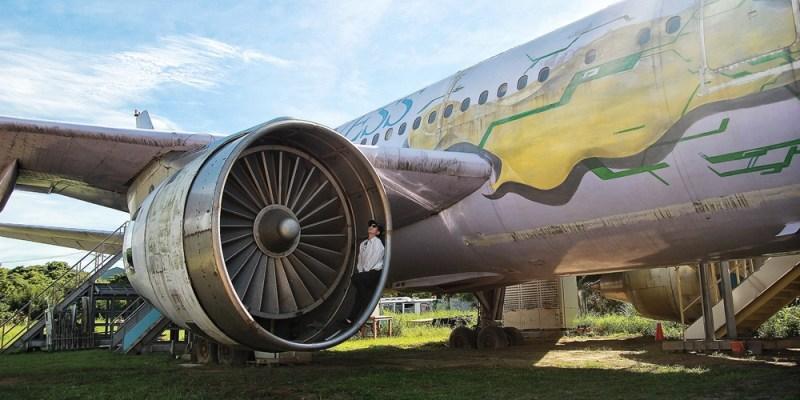 桃園旅遊景點/觀音彩繪退役飛機,全台唯一可貼近飛機渦輪打卡拍照的秘境